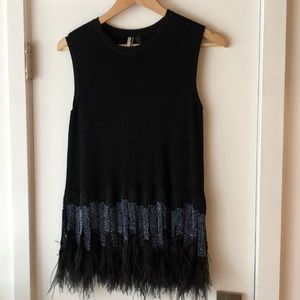 Topshop beaded and feathered top